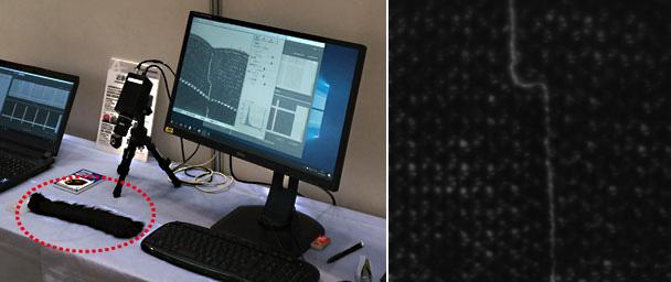 デモの様子(左)と近赤外カメラでの検出の様子(右)