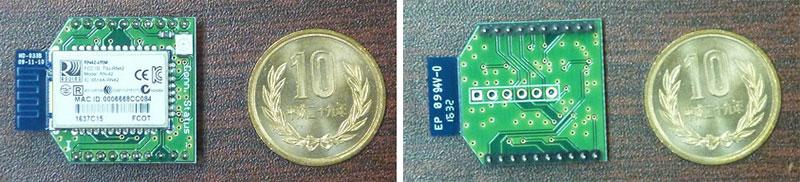 Bluetoothモジュール(右:表、左:裏)