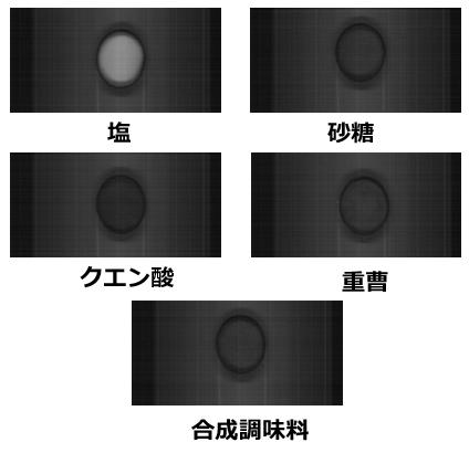 ハイパースペクトルカメラで撮影した1797nmバンドの 塩と異物(砂糖、重曹、クエン酸、合成調味料)の画像例